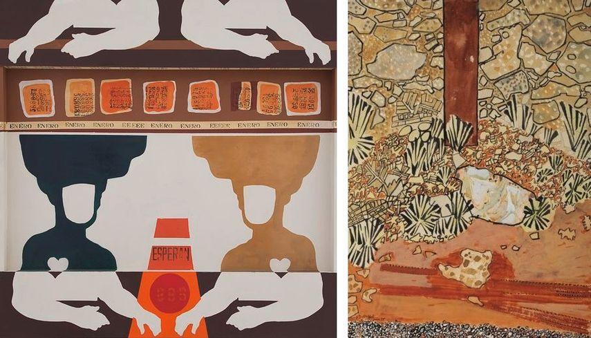 Felipe Ehrenberg - Enero, (de la serie Bufones), 1967, Jean Dubuffet - Pied d'un poteau devant un mur, 1955 on view at the april exhibition at grand palais