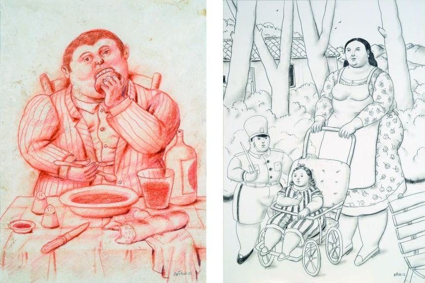 Left Fernando Botero - Man Eating, 2002 Right Fernando Botero - The Nanny, 2012