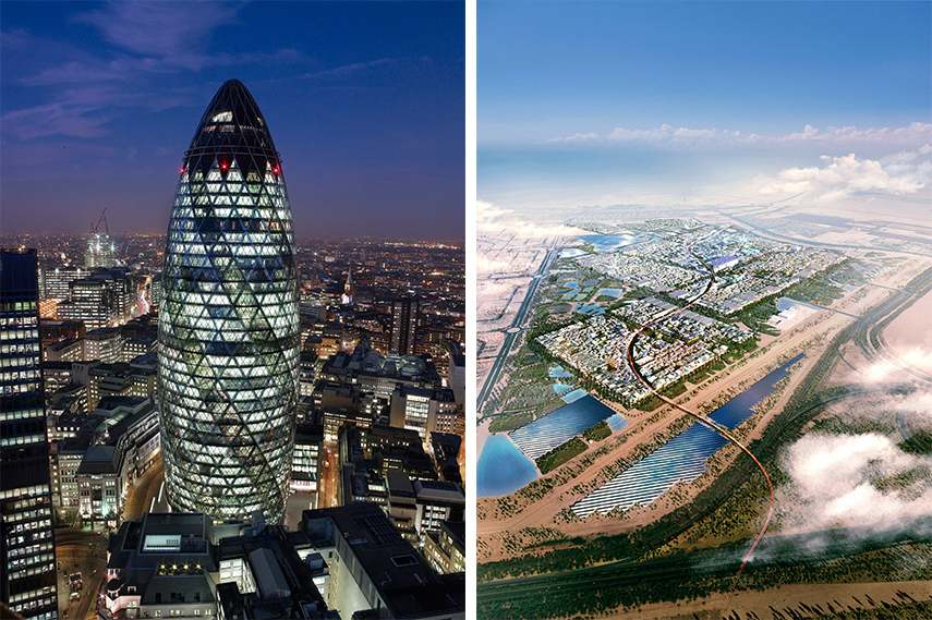 Left - Foster And Partners, 30 St. Mary Axe, 1997-2004, London. Photo: Nigel Young, Foster + Partners. Right - Foster And Partners, Masdar City, 2007-, Abu Dhabi UAE. Copyright: Foster+Partners