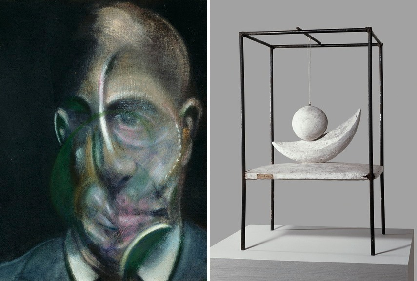 Bacon - Portrait of Michel Leiris, 1976 Right Giacometti - Boule suspendue, 1930