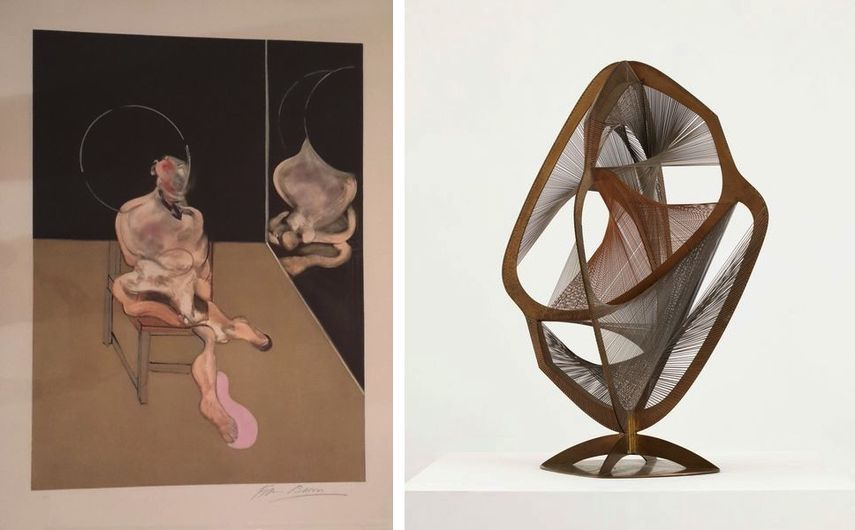 Francis Bacon - Seated Man, 1983, Naum Gabo - Linear Construction in Space n°4, 1970