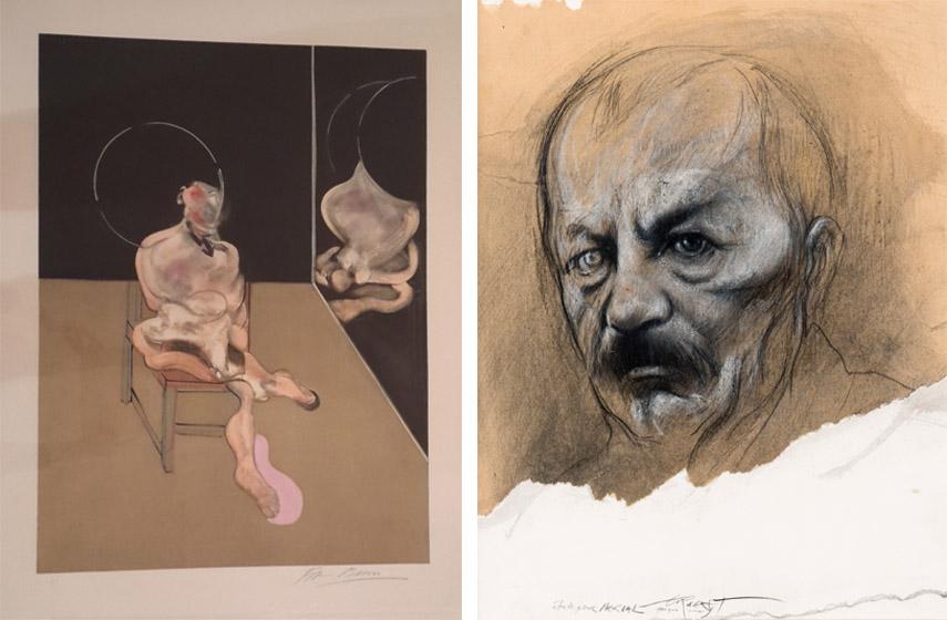 Francis Bacon - Seated Man, 1983, Ernest Pignon-Ernest - Etude pour Nerval, 2001