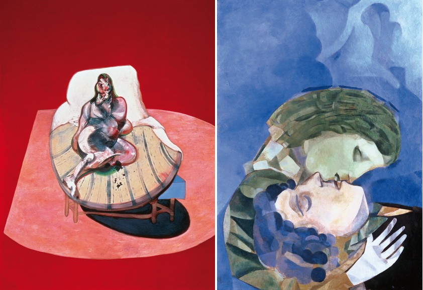 Francis Bacon – Study for portrait of Henrieta Moraes, 1964, Marc Chagall – Lovers, 1916