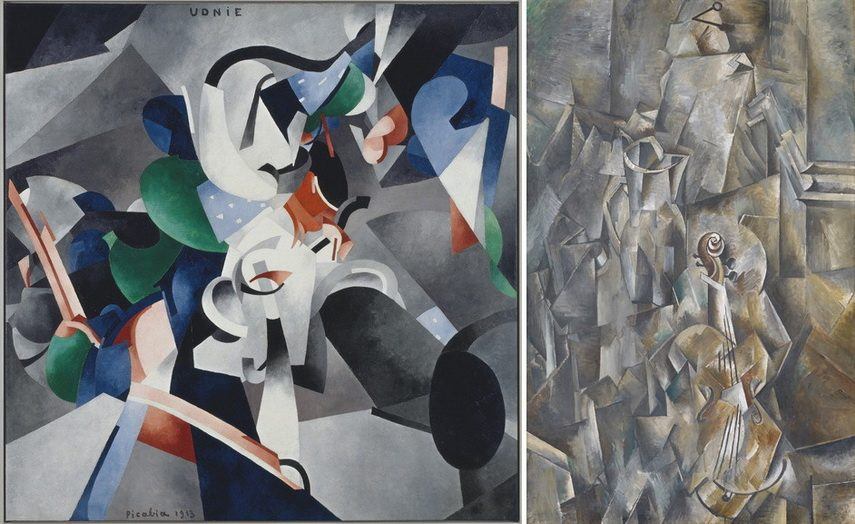 Left Francis Picabia - Udnie Right Georges Braque - Pitcher and Violin