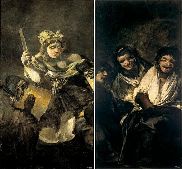 Left Goya - Judith and Holofernes Right Man Mocked by Two Women
