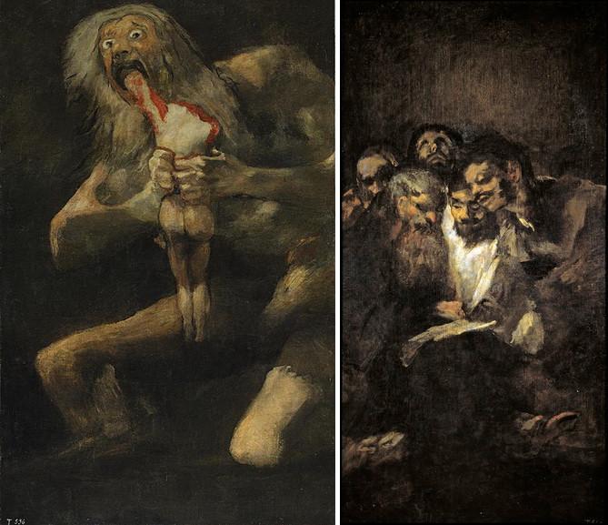 Left Goya - Saturn Devouring His Son, Devoration or Saturn Eats His Child, Men Reading