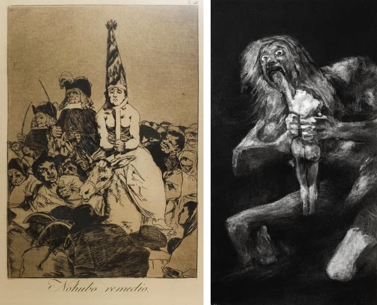 Francisco Goya - There was no help from Los Caprichos (The Caprices) (1797–1798), Robert Longo - Untitled (After Goya, Saturn Devouring His Son, 1819), 2016