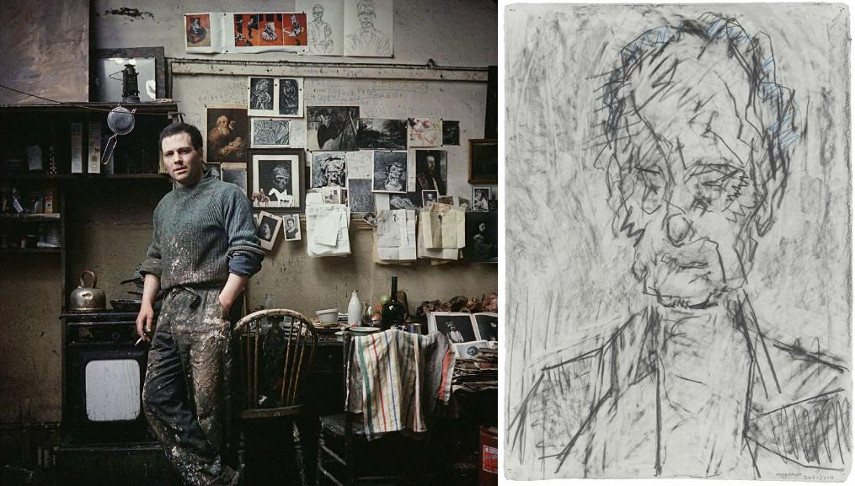 Left Frank Auerbach in his studio Right Frank Auerbach - Head of William Feaver