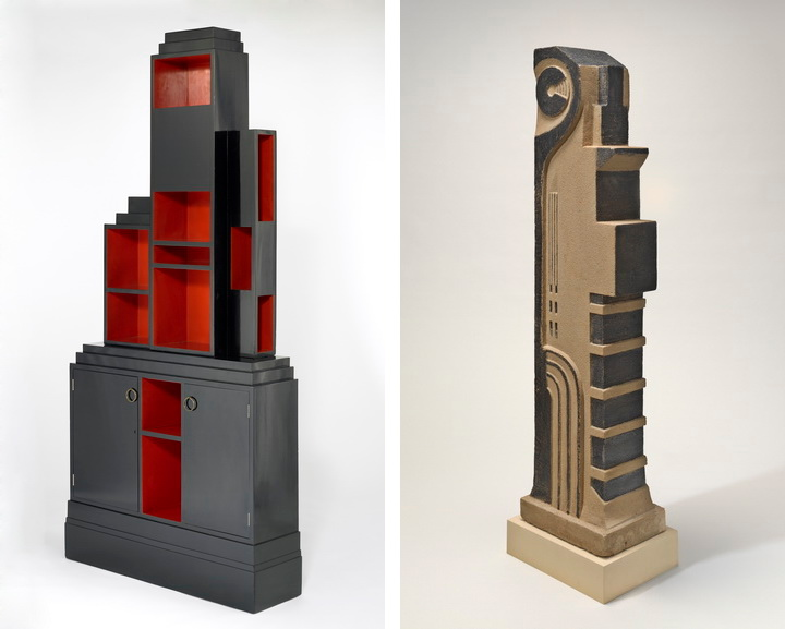 Left - Frankl Skyscraper bookcase 1926 Right - Storrs Auto Tower 1922