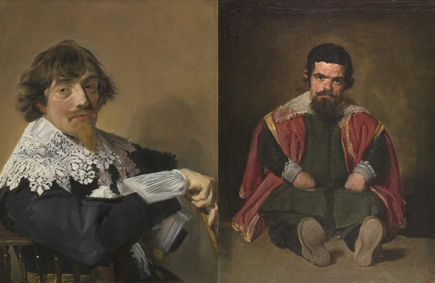 Left Frans Hals - Portrait of a Man Right Diego Rodriguez De Silva Y Velazquez - The Buffoon el Primo