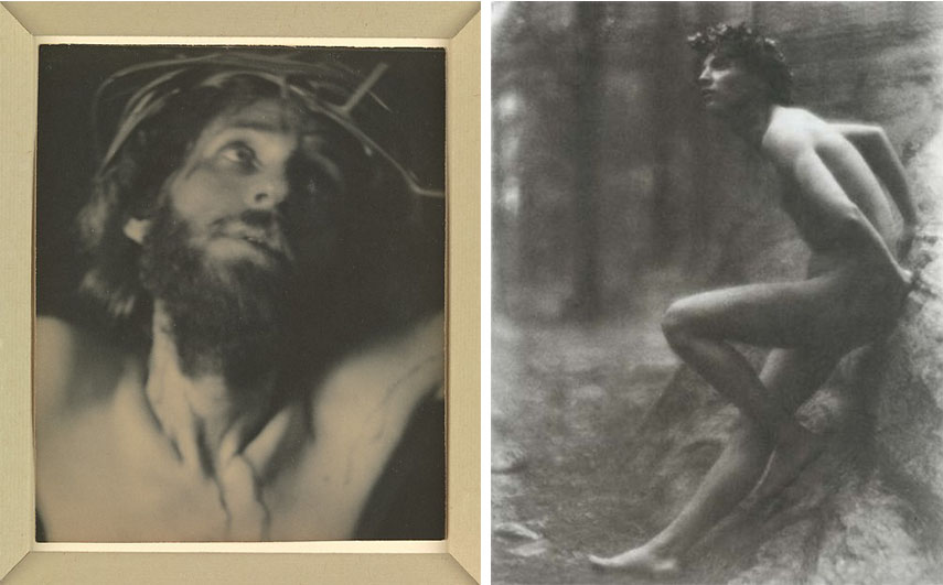 Left: Fred Holland Day – The Seven Words, 1898 / Right: Fred Holland Day –  Youth sitting on a stone (Nicola Giancola), 1907