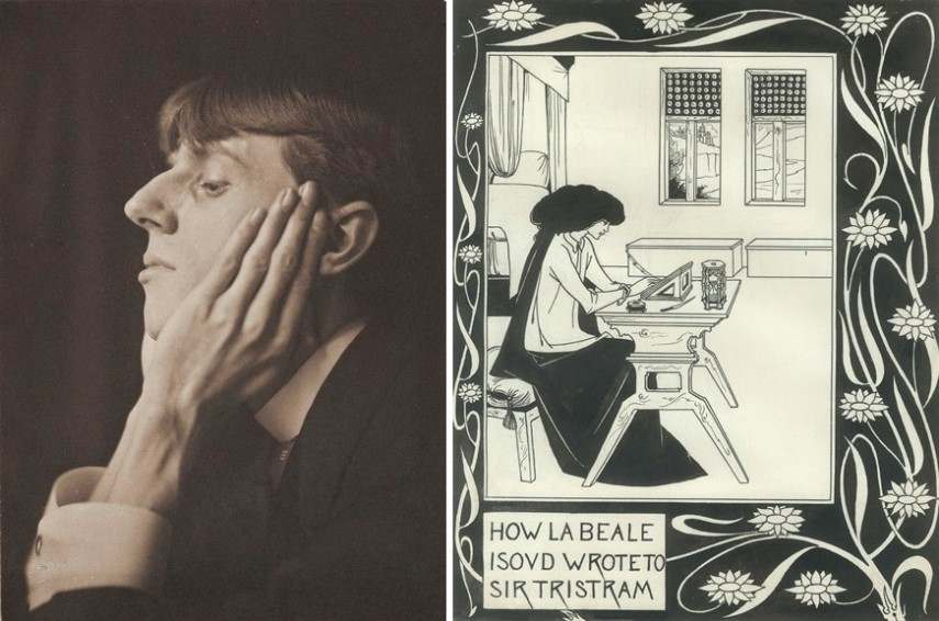Left Frederick Evans - Portrait of Aubrey Beardsley Right Aubrey Beardsley - How la Beale Isoud