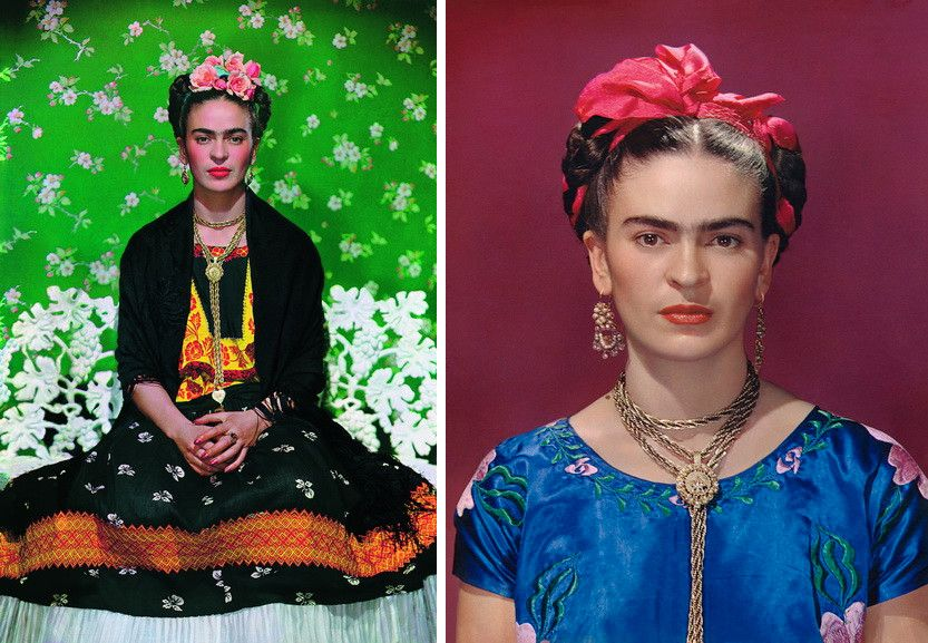 Left Frida Kahlo on a bench by Nickolas Muray Right Frida Kahlo in blue satin blouse, by Nickolas Muray