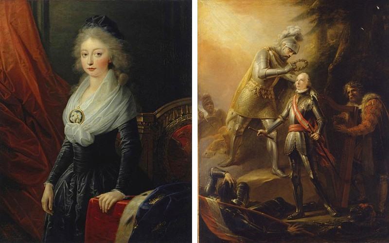 Left Friedrich Heinrich Fuger - Portrait of Marie Thérèse of France, after 1795, Right Friedrich Heinrich Fuger - Apotheose Erzh Karl