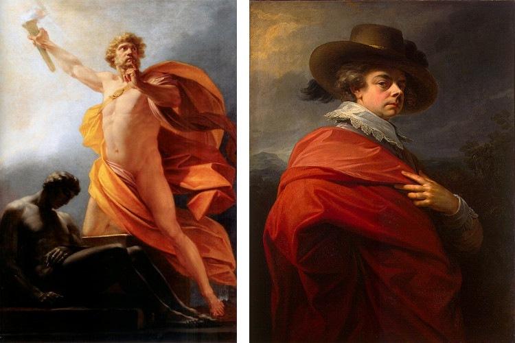 Left Friedrich Heinrich Fuger - Prometheus Brings Fire to Mankind, 1817, Right Friedrich Heinrich Fuger - Porträt des Fürsten Nikolai Jussupow, 1783