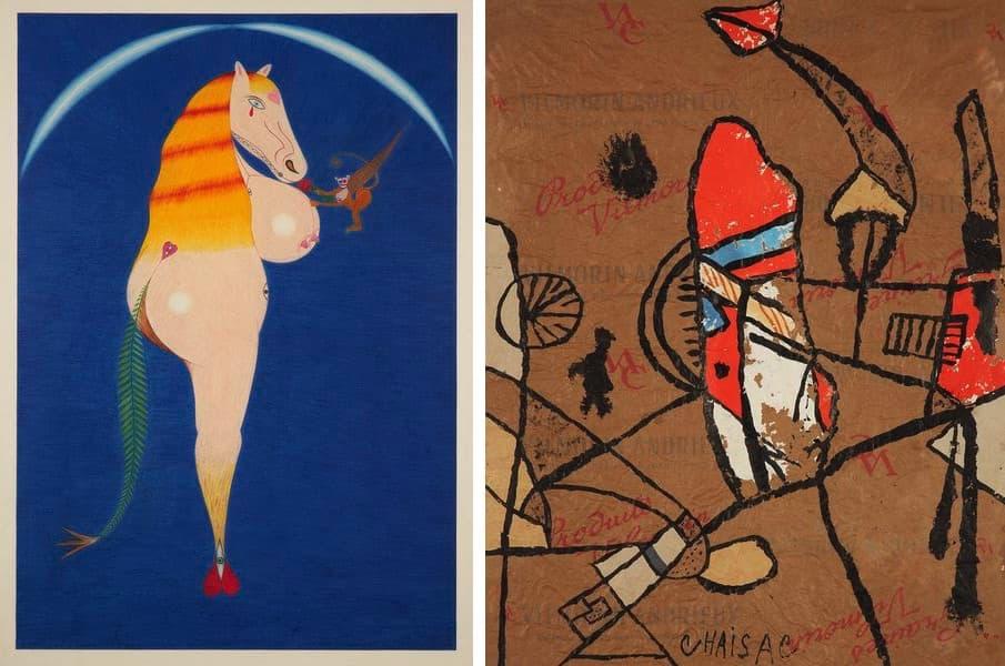 Friedrich Schröder-Sonnenstern - Le Cheval Pleurant, 1957, Gaston Chaissac - Untitled, 1961
