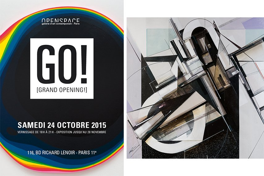 2013 Left: GO! Grand Opening flyer / Right: Augustine Kofie - Adjustment Amethyst, 2015
