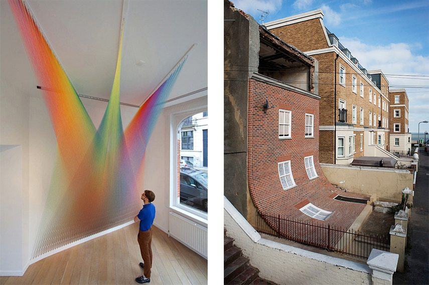 Gabriel Dawe and Alex Chinneck's installation art in a museum