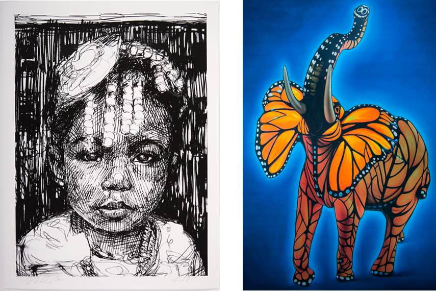 Left Gaia - Amani, 2015 Right Ron English - Monarch Elephant, 2015