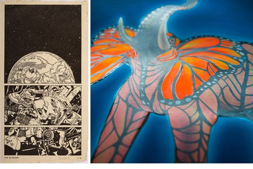 Left Ganzeer -After the Starstuff, 2015 Right Ron English - Elephant Monarhy, detail, 2015