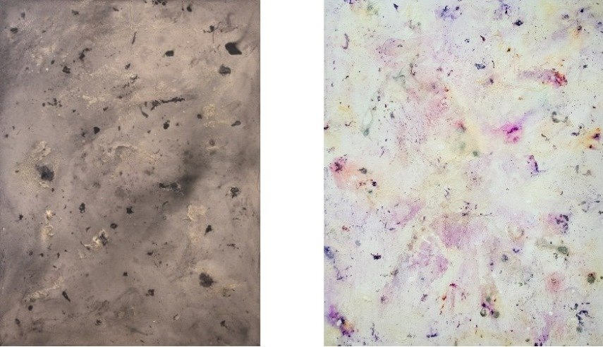 Left: Garrett Pruter - Swiss Miss, 2015. Photographic emulsion, graphite , bleach, spray adhesive, and acrylic paint on canvas, 48 x 36 in / Right: Garrett Pruter - Trash Island, 2015. Photographic emulsion, bleach, spray adhesive, and acrylic paint on canvas, 60 x 48 in