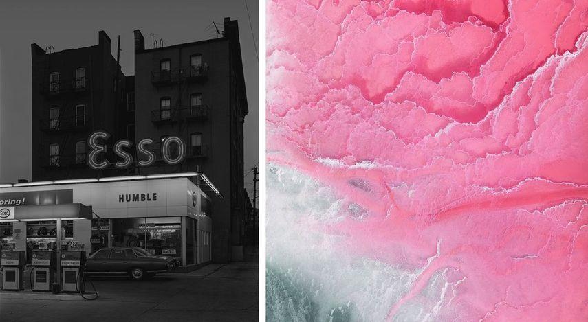 George Tice - Esso Station and Tenement House, Hoboken, NJ, 1972, Jérémie Lenoir - Salt Lake, 2017 on view at Art Elysées in Paris, France
