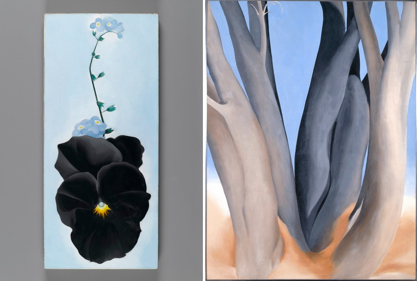 Left Georgia O'Keeffe - Black Pansy & Forget-Me-Nots Right Georgia O'Keeffe - Dark Tree Trunks