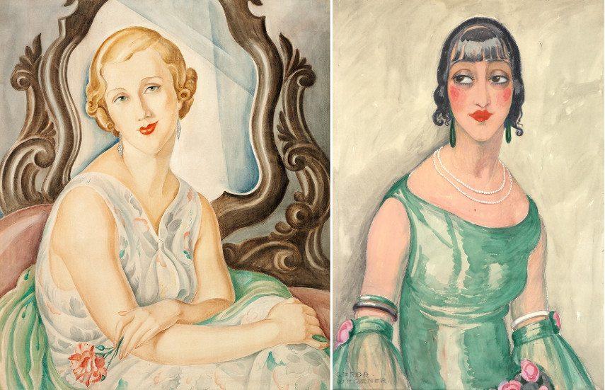 Left Gerda Wegener - Lady in front of a mirror Right Gerda Wegener - Portrait of a women in green dress and pearls