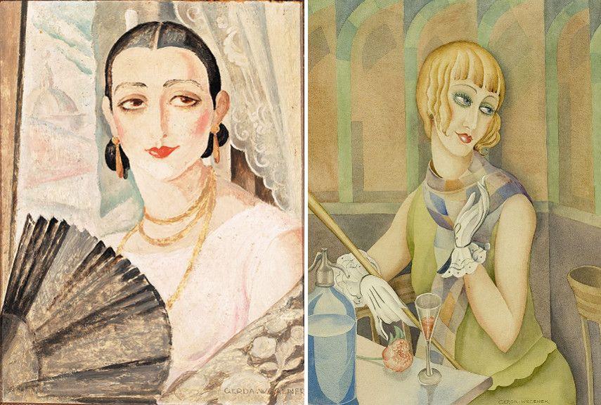 Left Gerda Wegener - Portrait of Lili Elbe with a fan Right Gerda Wegener - Portrait of Lili Elbe