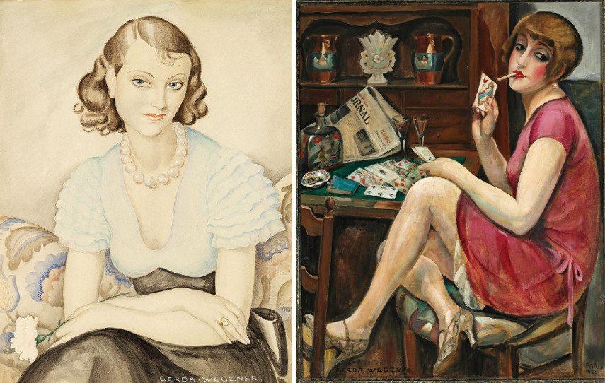 Left Gerda Wegener - Portrait of a young woman Right Gerda Wegener - Solitaire