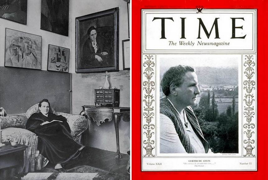 Left Gertrude Stein sitting on a sofa in her Paris studio Right Gertrude Stein on the cover of Time Magazine