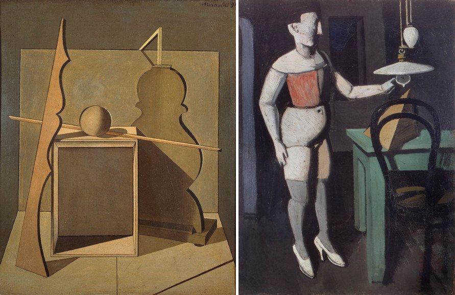 Left Giorgio Morandi - Natura morta Right Mario Sironi - La lampada