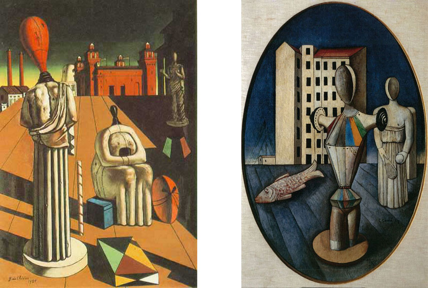 Left: Giorgio de Chirico - The Disquieting Muses, 1947, University of Iowa Museum of Art / Right: Carlo Carrà - L'Ovale delle Apparizioni (The Oval of Apparition), 1918. Galleria Nazionale d'Arte Moderna, Rome