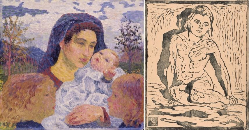 Left Giovanni Giacometti - La madre Right Giovanni Giacometti - Kneeling nude child from the front
