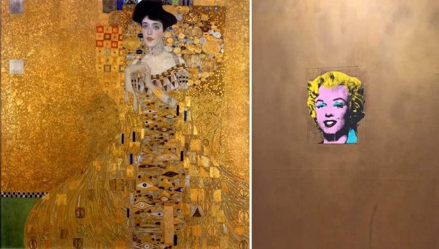 Left Gistav Klimt - Portrait of Adele Bloch Bauer Right Andy Warhol - Gold Marilyn Monroe