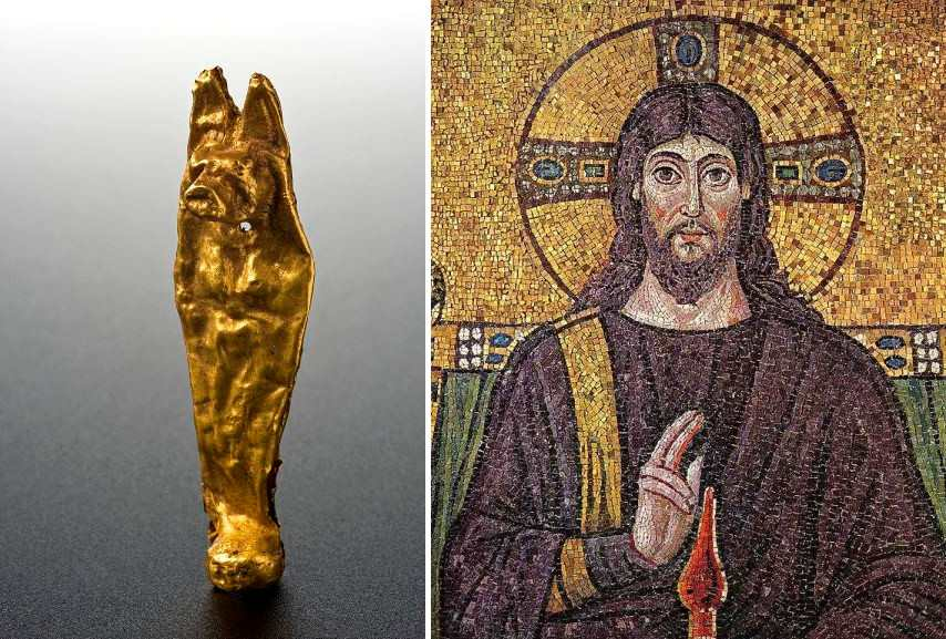 Left Gold amulet in the form of Duamutef Right Christus Ravenna Mosaic