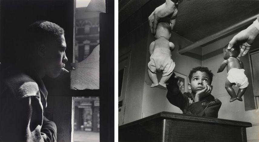 Trapped in abandoned building by a rival gang on street, Red Jackson ponders his next move, 1948, Untitled, Harlem, New York, 1947