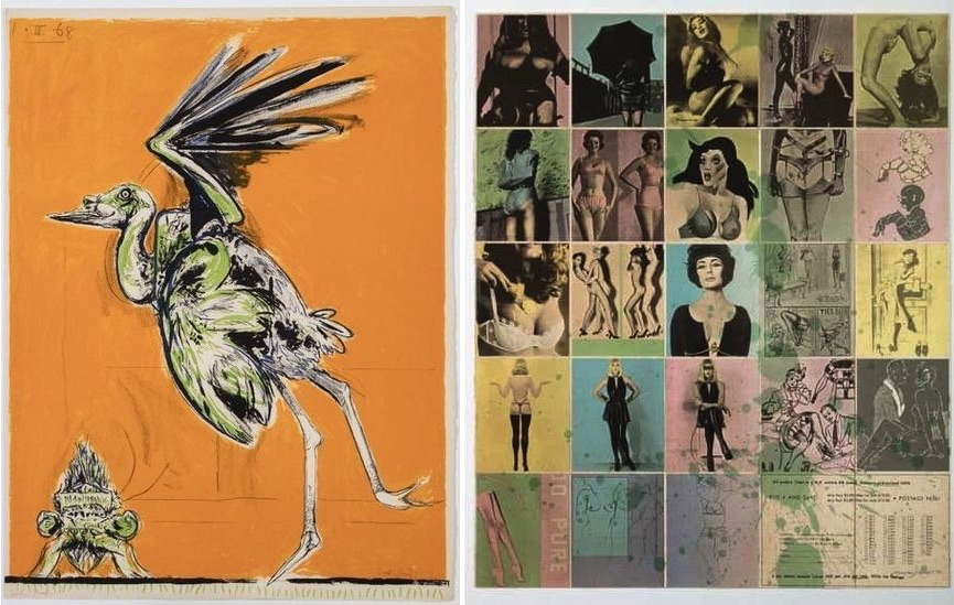 Graham Sutherland - Bird (About to take flight), 1968. From- A Bestiary and Some Correspondences portfolio of twenty six colour lithographs, Allen Jones - One Way traffic, 1974
