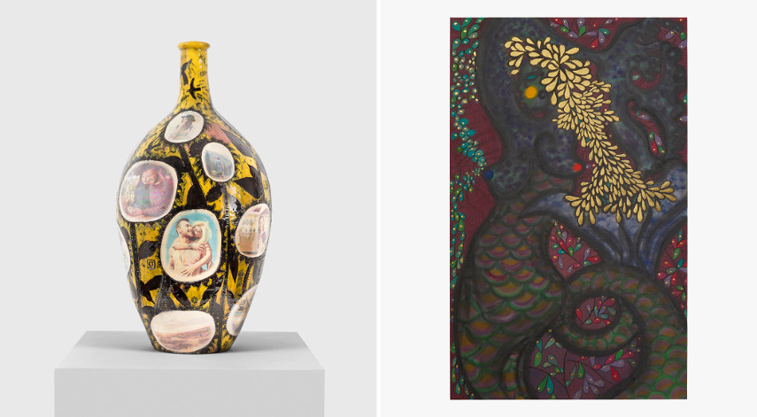 Left Grayson Perry - Searching for Authenticity, Right Chris Ofili - Siren