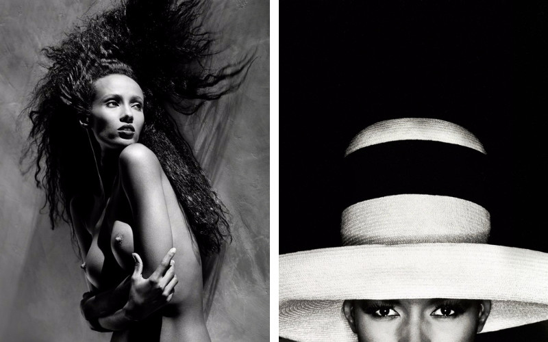 photographers life Left Iman, 1988, Right Grace Jones with Hat, 1991, camera photos