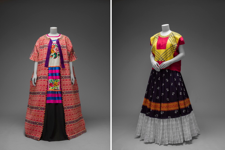 Left Guatemalan cotton coat worn with Mazatec huipil and plain floor-length skirt Right Cotton huipil with machine-embroidered chain stitch
