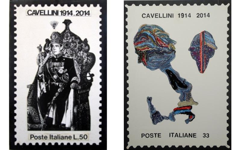 Left Guglielmo Achille Cavellini - Il trono del pavone, 1977, Right Guglielmo Achille Cavellini - Francobollo Italia - autoritratto (Italy - self-portrait stamp), 1987