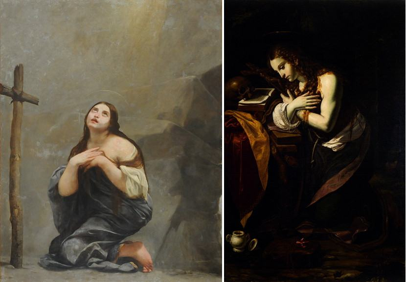 Left Guido Cagnacci - Penitent Magdalene Right Giovan Francesco Guerrieri - Penitent Magdalene