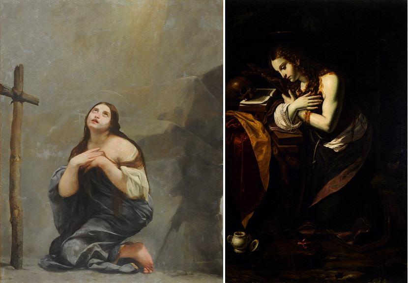 Left Guido Cagnacci - Penitent Magdalene Right Giovan Francesco Guerrieri - Penitent Magdalene