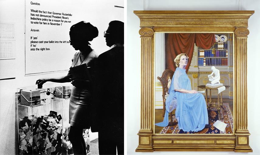 Left Hans Haacke - MOMA Poll, 1970 Right Hans Haacke - Taking Stock (unfinished), 1983–84