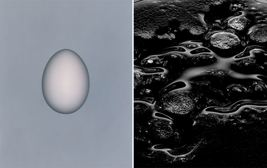 Left Hans Hansen - o.T. (Egg), 1998 Right Hans Hansen - o.T. (Glass Water), 2004