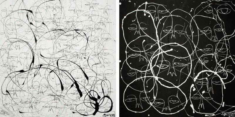 Left Harif Guzman - One of a Kind - Black on White, 2012, Right Harif Guzman - One of a Kind - White on Black, 2012