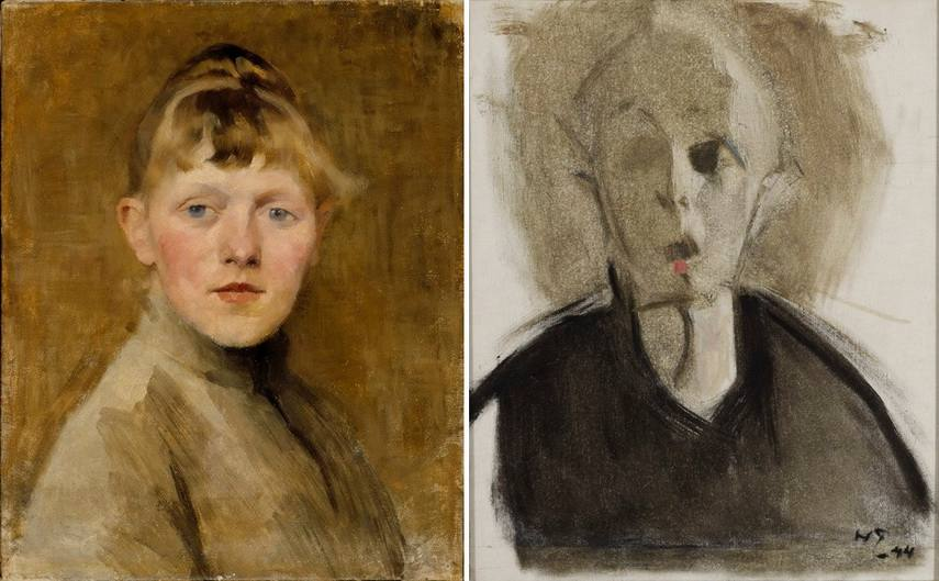 Left Helene Schjerfbeck - Self-portrait Right Helene Schjerfbeck - Self-portrait with red spot