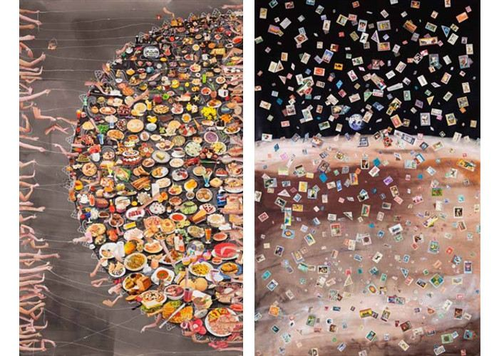 Left Hema Upadhyay - Fish in a dead landscape #1, 2014, Right Hema Upadhyay - Fish in a dead landscape #2, 2014 - Mixed media on paper