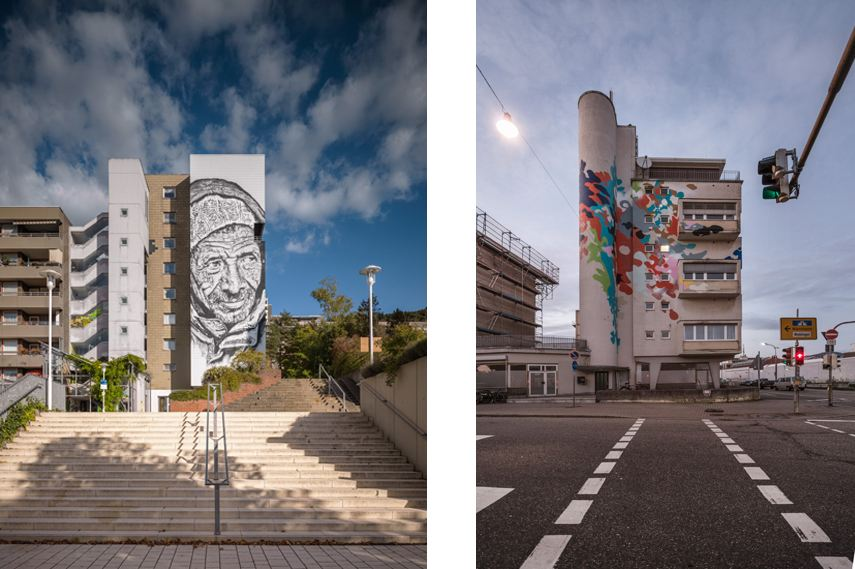 Left Hendrik Beikirch -Mural in Heidelberg, Right Mural by Smash photo creditThilo Ross